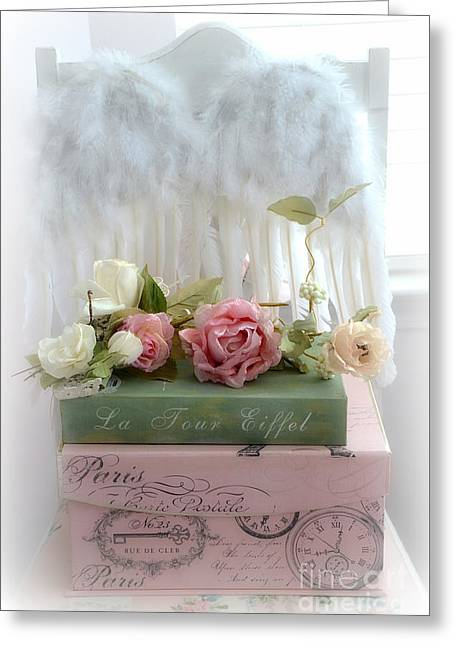 Romantic Roses Photography Greeting Cards - Shabby Chic Dreamy Cottage Roses With Romantic Paris Books and Angel Wings on White Chair Greeting Card by Kathy Fornal