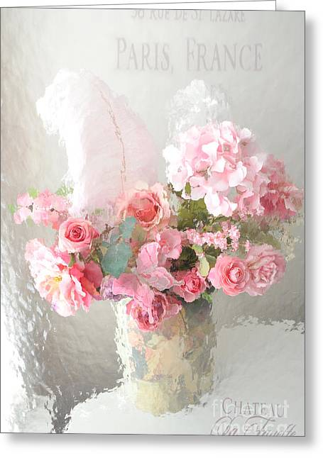 Decor Photography Greeting Cards - Shabby Chic Dreamy Pink Peach Impressionistic Romantic Cottage Chic Paris Floral Art Photography Greeting Card by Kathy Fornal