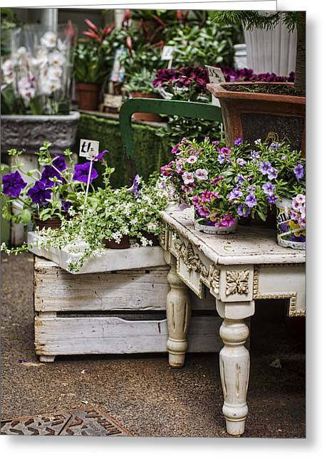 Borough Market Greeting Cards - Shabby Chic Flower Shop Greeting Card by Heather Applegate