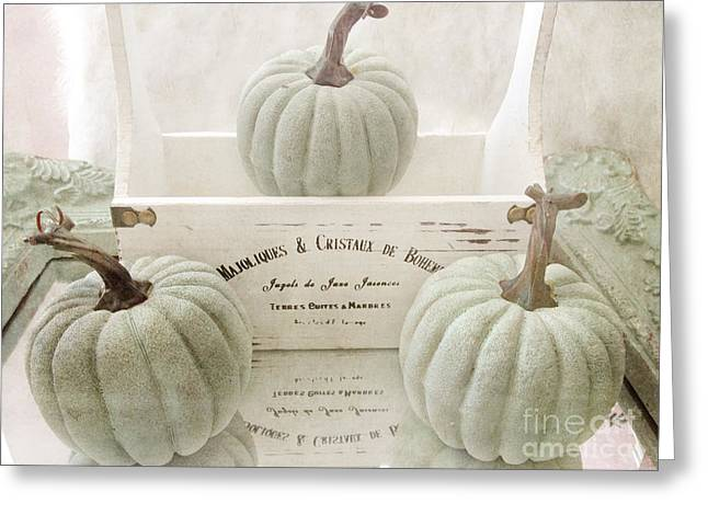 Photos Of Autumn Greeting Cards - Shabby Chic Pastel White Vintage French Basket of Pumpkins Greeting Card by Kathy Fornal