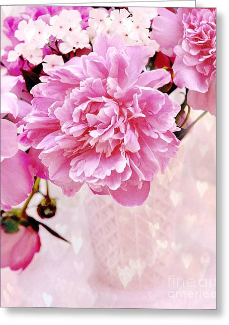 Flower Photos Greeting Cards - Shabby Chic Pink Peonies in Pink Vase - Dreamy Romantic Pastel Pink Peonies   Greeting Card by Kathy Fornal