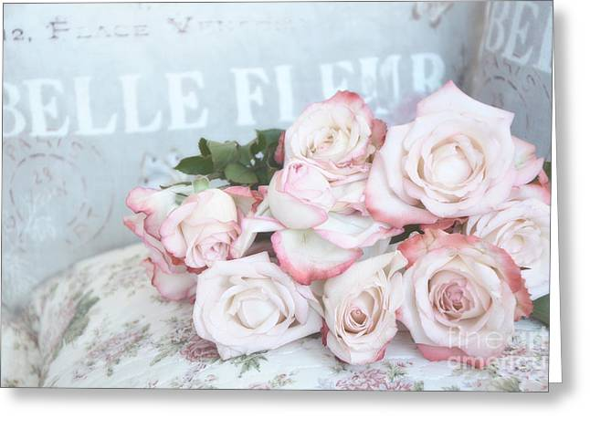 Floral Photos Greeting Cards - Shabby Chic Pink Roses - Dreamy Pink Romantic Cottage Roses Greeting Card by Kathy Fornal