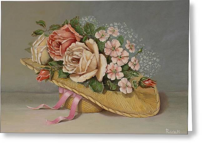 Shabby Chic Roses Greeting Card by Radoslav Nedelchev