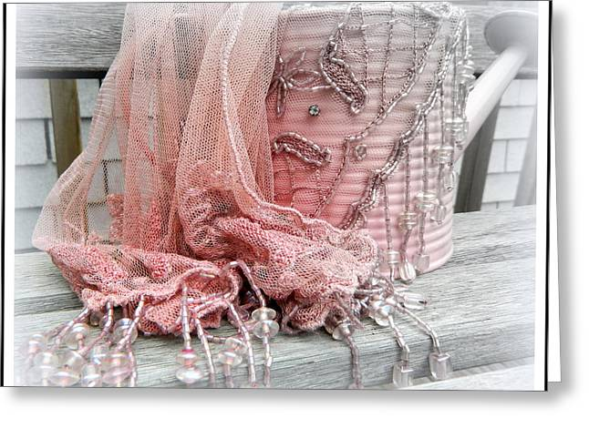 Shabby Chic Pink Watering Can And Scarf 2 Greeting Card by Kathy Barney