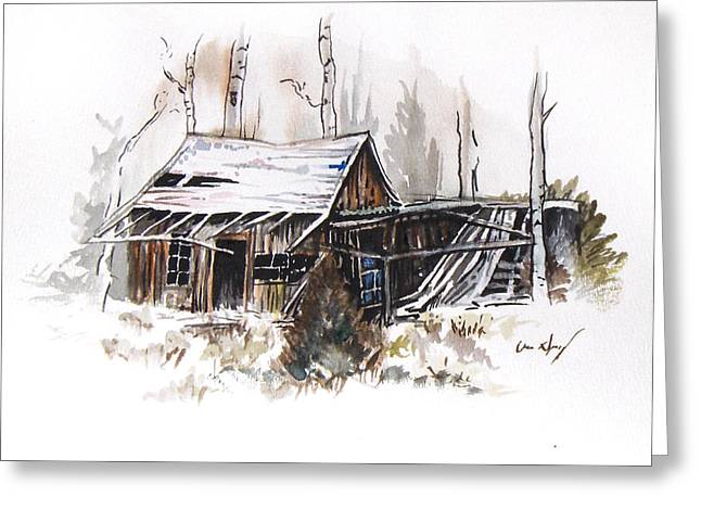 Old Barn Drawing Greeting Cards - Shack Greeting Card by Aaron Spong