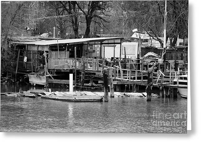 Manhatan Greeting Cards - Shack And Jetty Built On The East River Near Harlem New York City Greeting Card by Joe Fox