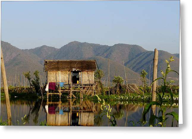 Shack Greeting Cards - Shack in Myanmar Greeting Card by Mountain Dreams