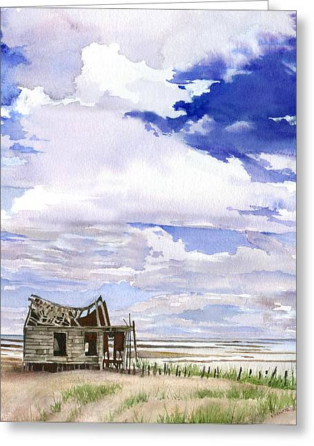 Sand Dunes Paintings Greeting Cards - Shack on Long Beach Island Greeting Card by Beth Kantor