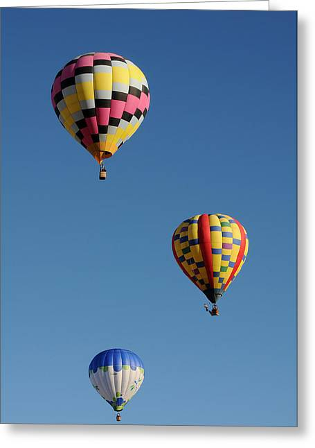 Three Hot Air Balloons Greeting Cards - Shade to Blue Greeting Card by Cyril Furlan