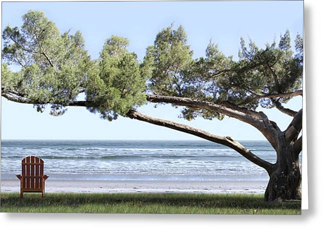 Chairs Greeting Cards - Shade Tree Panoramic Greeting Card by Mike McGlothlen