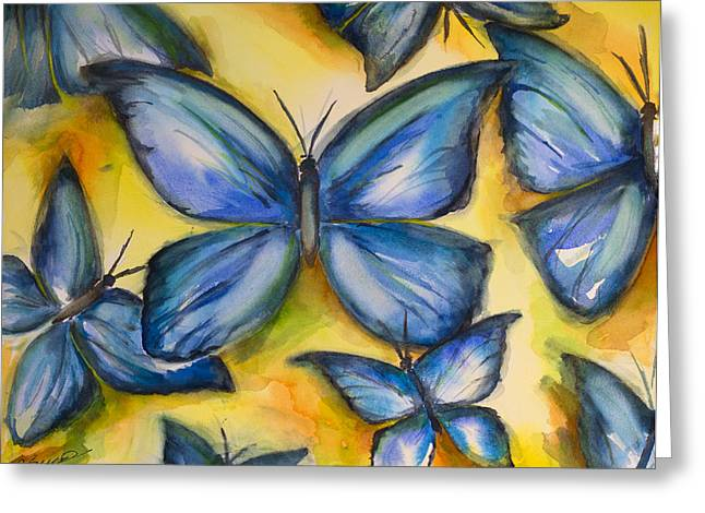 Spiegel Greeting Cards - Shaded Blue Wings Greeting Card by Rita Spiegel