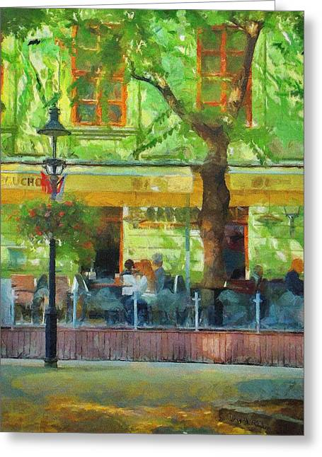 Eating Greeting Cards - Shaded Cafe Greeting Card by Jeff Kolker