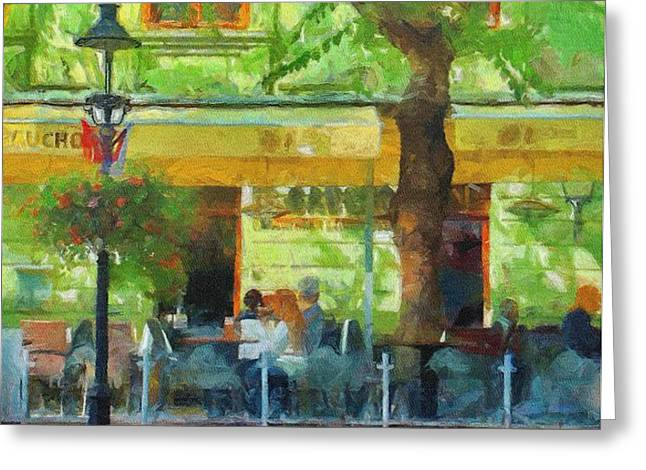 Shaded Cafe Greeting Card by Jeff Kolker