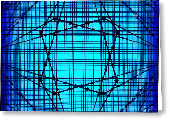 Blue Line Greeting Cards - Shades 14 Greeting Card by Mike McGlothlen
