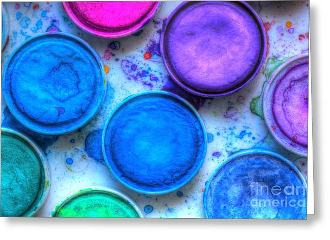 Paintbox Greeting Cards - Shades Of Blue Watercolor Greeting Card by Heidi Smith