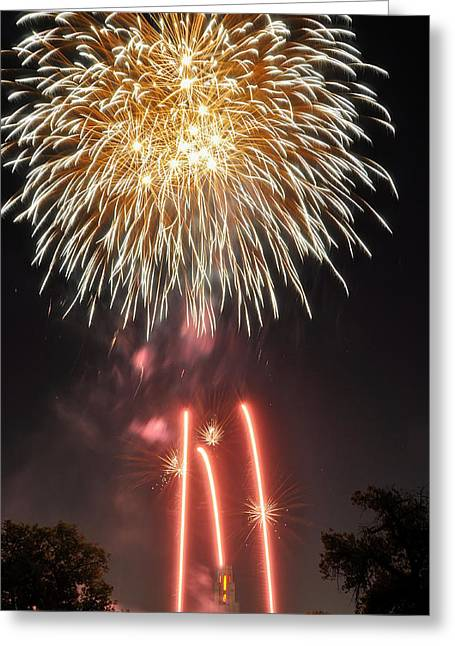 Bottle Rockets Greeting Cards - Shades of Gold Explode Greeting Card by Kevin Munro