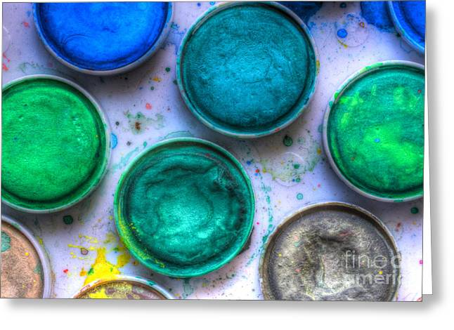 Paintbox Greeting Cards - Shades Of Green Watercolor Greeting Card by Heidi Smith