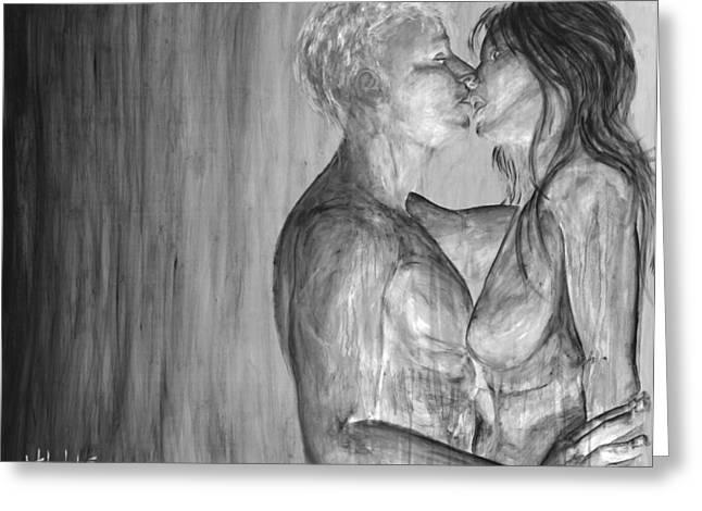 Shades Of Grey - Erotic Nude Lovers Greeting Card by Nik Helbig