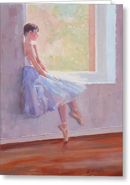 Ballet Dancers Paintings Greeting Cards - Shades of Lavender Two Greeting Card by Laura Lee Zanghetti