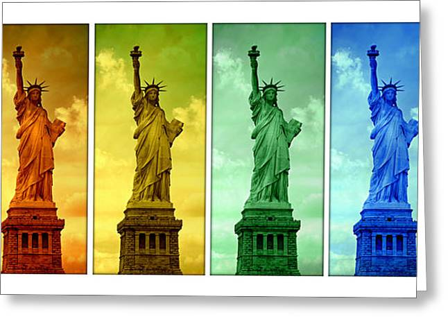 Historic Statue Greeting Cards - Shades of Liberty Greeting Card by Stephen Stookey