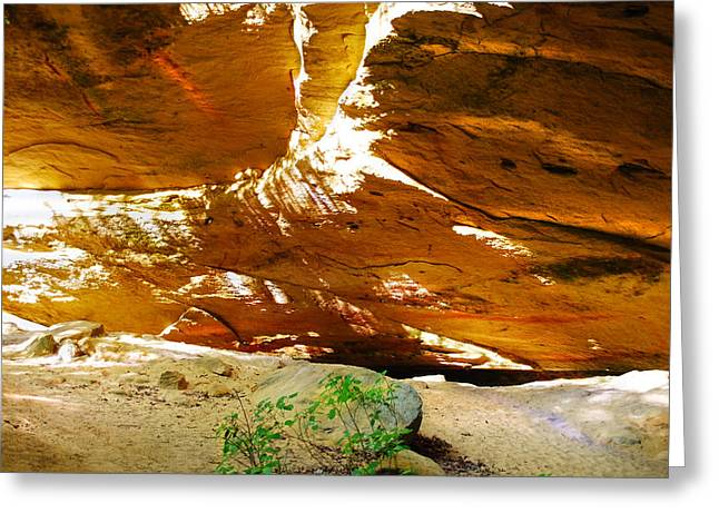 Shades Of Light Shadow And Texture On Cliff Wall Greeting Card by Optical Playground By MP Ray