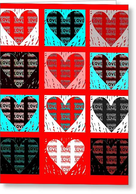 With Love Mixed Media Greeting Cards - Shades of Love Greeting Card by Helena Tiainen