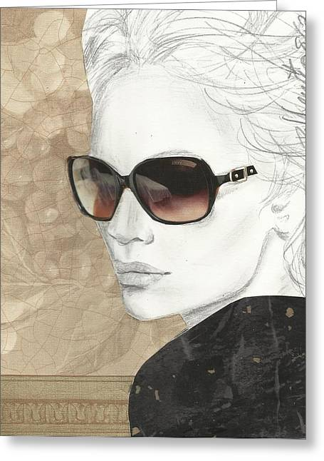 Fashion Portraits Greeting Cards - Shades Of Neutrality Greeting Card by P J Lewis