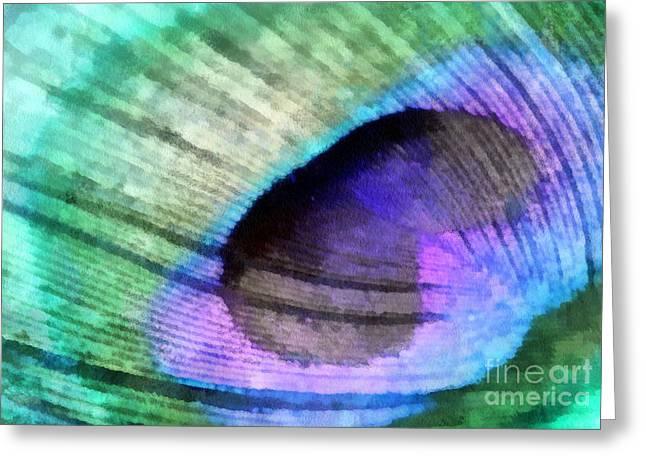 Shades Of Peacock Greeting Card by Krissy Katsimbras