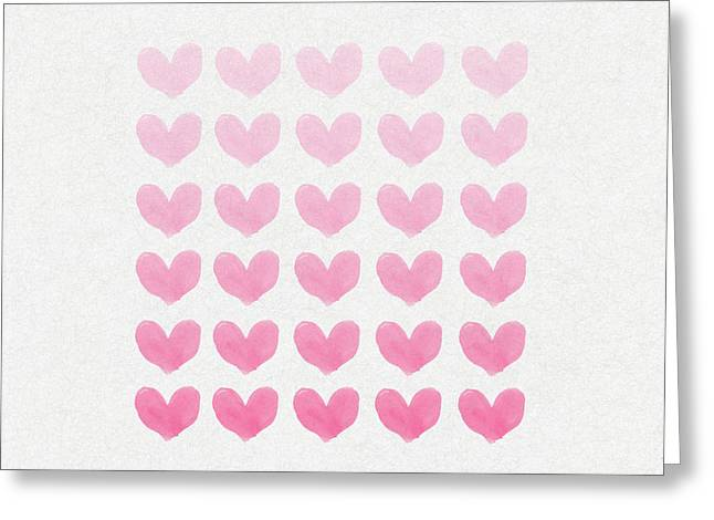Pink Heart Greeting Cards - Shades of Pink Greeting Card by Aged Pixel