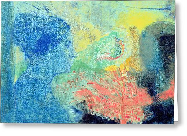 Shades Of Sleep  Greeting Card by Odilon Redon