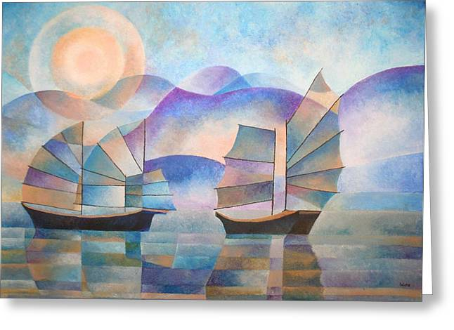 Tracey Harrington-simpson Greeting Cards - Shades of Tranquility Greeting Card by Tracey Harrington-Simpson