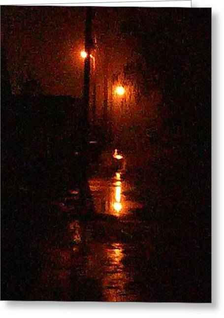 Streetlight Greeting Cards - Shadow Alley Greeting Card by Gregory L