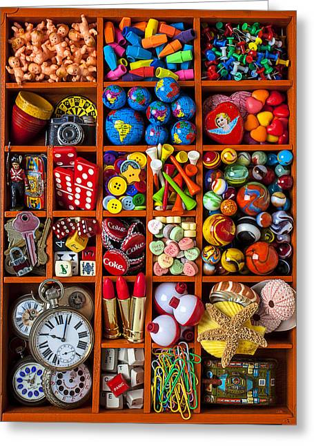 Compartments Greeting Cards - Shadow box collection Greeting Card by Garry Gay