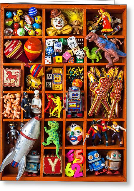 Shadow Box Full Of Toys Greeting Card by Garry Gay