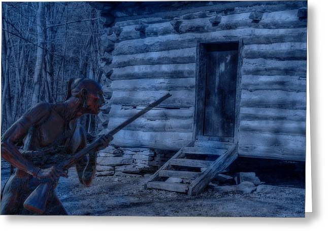 Log Cabin Interiors Digital Art Greeting Cards - Shadow in the Darkness One Greeting Card by Randy Steele