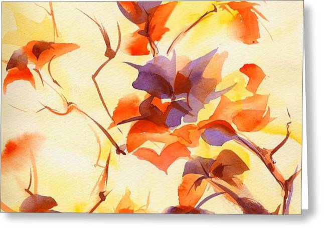 Shadow Leaves Greeting Card by Summer Celeste