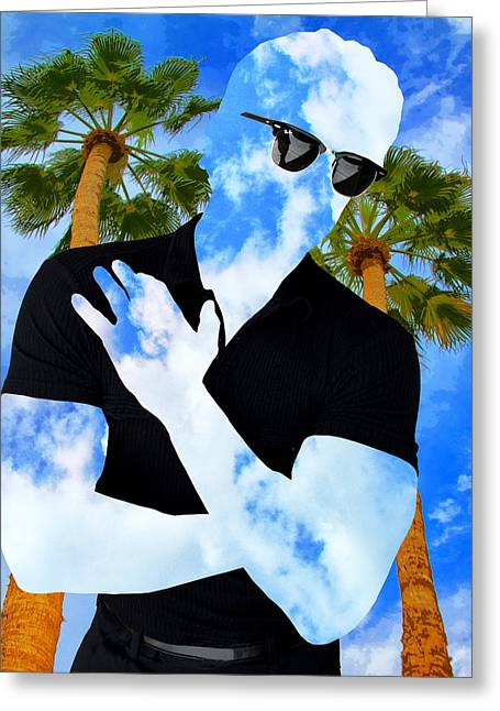 Southern Ca Greeting Cards - SHADOW MAN Palm Springs Greeting Card by William Dey