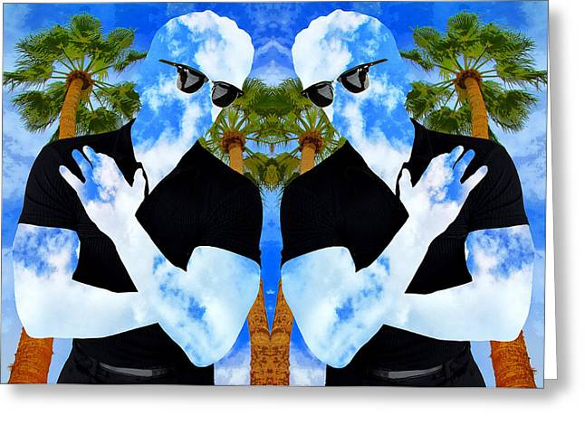 Spring Fashion Greeting Cards - SHADOW MEN Palm Springs Greeting Card by William Dey
