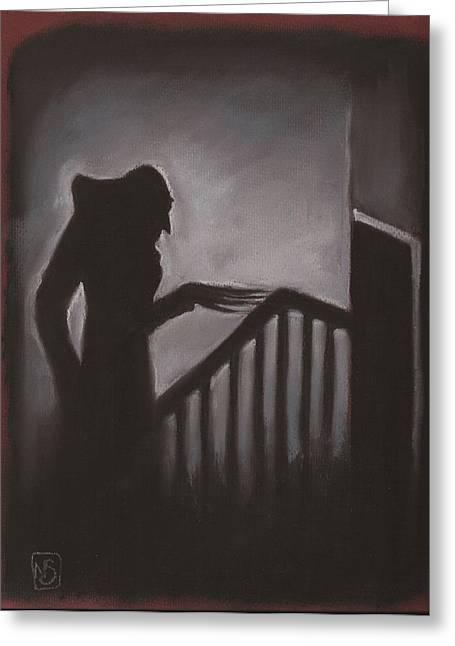 Creepy Pastels Greeting Cards - Shadow Greeting Card by Nina Shilling