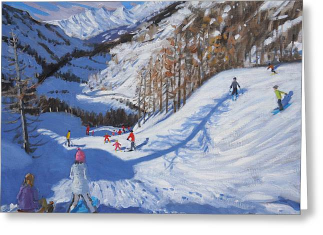 Shadow Of A Fir Tree And Skiers At Tignes Greeting Card by Andrew Macara