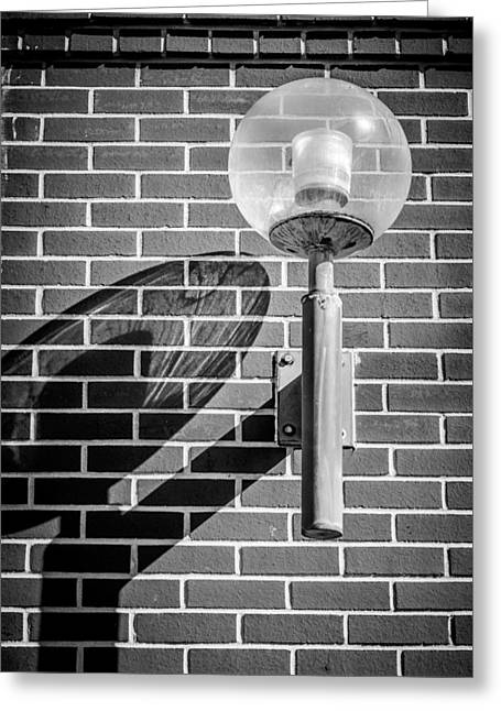Old Street Greeting Cards - Shadow Of A Lamp - BW Greeting Card by Carolyn Marshall