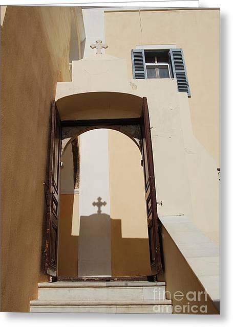 Fineartamerica Greeting Cards - Shadow of Cross on Santorini Greece Catholic Church Wall Greeting Card by Eva Kaufman