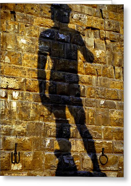 Shadow Of Michaelangelo's David Greeting Card by Jenny Setchell