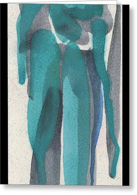Printmaking Greeting Cards - Shadow of My Ghost.  Entwined Figures Series No. 26.  2013 Greeting Card by Cathy Peterson