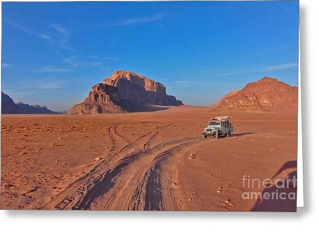 Jordan Greeting Cards - Shadow of Photographer in Wadi Rum Jordan Greeting Card by Beth Wolff