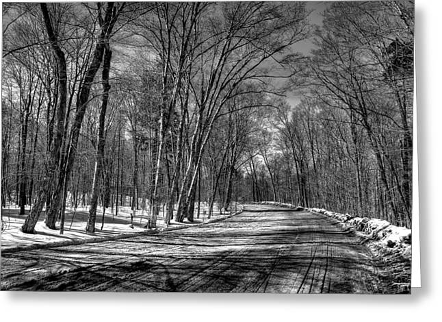Snowy Field Greeting Cards - Shadow Play on Rondaxe Road Greeting Card by David Patterson