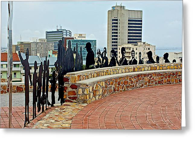 Port Elizabeth Greeting Cards - Shadow Representations of People Coming to the Port in Donkin Reserve in Port Elizabeth-South Africa   Greeting Card by Ruth Hager