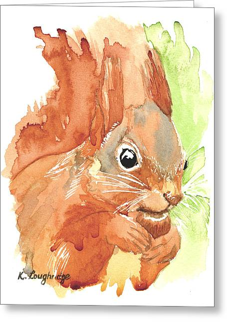 Shadow Tail Red Squirrel Greeting Card by Karen  Loughridge KLArt