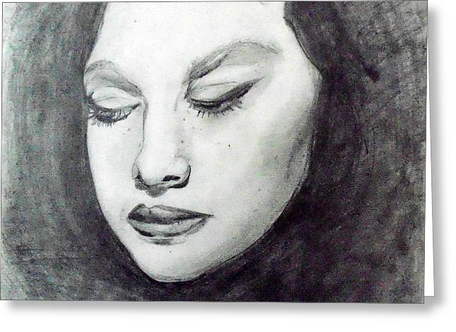 Pensive Drawings Greeting Cards - Shadow Thoughts Greeting Card by Kirsten Logerquist