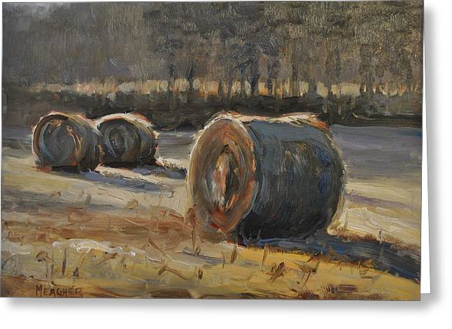 Hay Bales Paintings Greeting Cards - Shadows Across The Field Greeting Card by Spencer Meagher